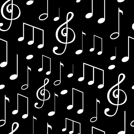 Music notes, notation sketches seamless pattern isolated on black background. Sounds and tunes vector, clef treble with quarter musical composition