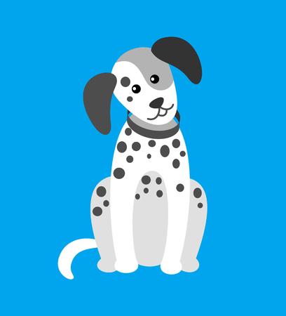 Cachorro de perro con manchas canino con collar en el cuello Ilustración de vector