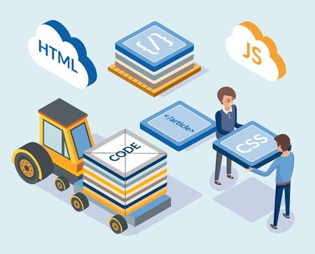Web development, programming coding scripts vector. Professional designers with css, html and js javascript. Transport with blocks, project managers Illustration