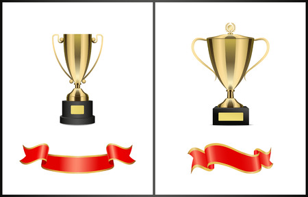 Golden cups and shiny ribbons colorful poster, vector precious awards for great sport achievements, trophies on stands with nameplate, laurel wreaths