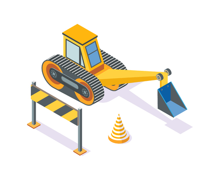 Excavator, road plastic cone and wooden stand regulating traffic movement vector. Machinery for working and development, machine with shovel digging Illustration