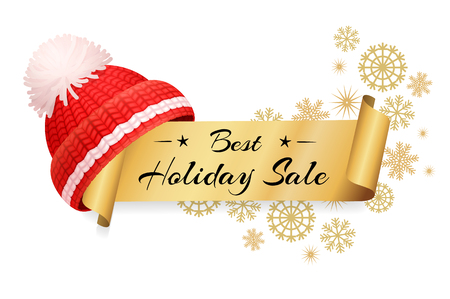 Best holiday sale lettering inscription on scroll, label with knitted red hat vector. Warm headwear item, winter cloth thick woolen chunky yarn headdress