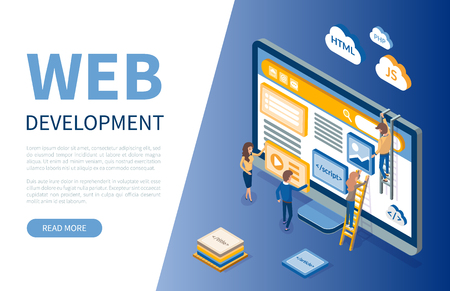 Web development, monitor and workers developers vector. Programming and html, js and php languages of coding. Online technology digital optimization Ilustracja