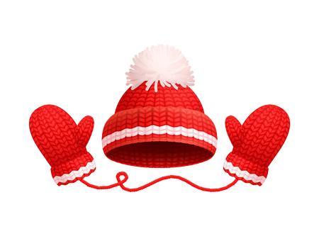 Winter Warm Red Hat, White Pom-pom, Knitted Gloves