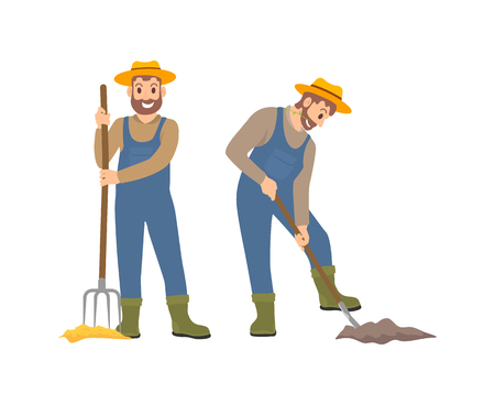 Farming man with hayfork vector. Isolated icons of farmers with agricultural tools, pitchfork and shovel spade. Cultivation of ground soil by person