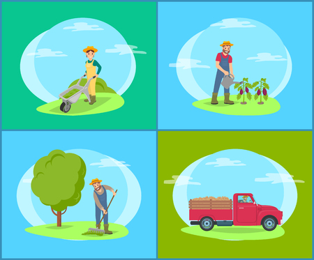 Car lorry and people working on land, green fields. Woman pushing carriage with compost for soil fertilizing, man watering eggplant plantation vector Illustration