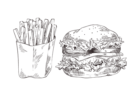 French fries and hamburger vector illustration, graphic art of fast food, big american burger with fresh lettuce, sliced tomatoes and onions, cheese Illustration