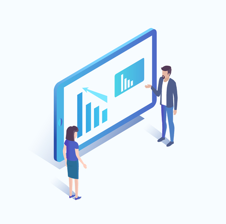Computer screen with data and analysis discussing results. Isolated isometric 3d icon with people working on charts and statistics researchers vector Illustration