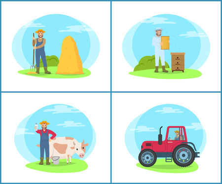 Farming people working at lands set vector. Tractor agricultural machine for cultivation of field. Man with cow and dairy product, milk and bee honey
