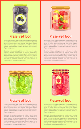 Preserved food, fruits and vegetables, posters. Spicy olives, tomatoes with greenery, sour lime, sweet strawberry in jars vector illustrations set. Çizim