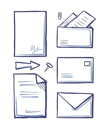 Office paper and documents in letters set of icons monochrome sketches outline vector. Arrows and clip, pin and sheets with info. Documentation data