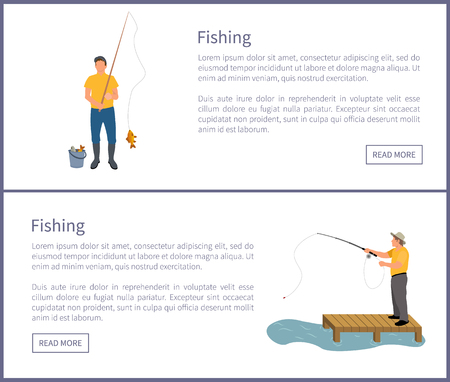 Fishing people wearing waders and special clothes on posters set. Man catching fish and put in bucket. Man standing on wooden pier vector illustration Illustration