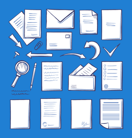 Office paper and magnifying glass isolated icons vector. Pages and correspondence mailing signs. Arrows and indicators, paperclip and writing pencil 일러스트