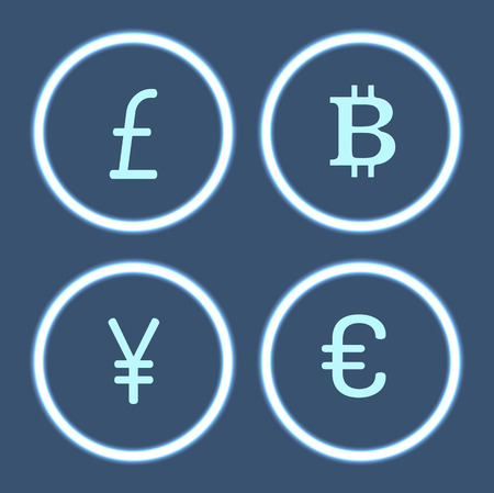 Bitcoin cryptocurrency and yen isolated icons set vector. Virtual money and signs, financial assets pound sterling and euro, Chinese yen in circles