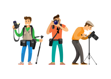 Photographer freelance men taking pictures, vector characters with modern digital cameras equipment. Paparazzi journalist making photos isolated