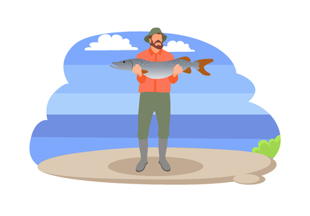 Fishing man with fish in hands vector illustration. Standing fisher holds caught big trout, in sportswear and hat isolated on landscape sport theme
