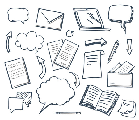 Office paper books and pencil isolated icons set vector. Arrows and pages, thought bubbles and pen, laptop screen, monitor of gadget message envelope Ilustrace