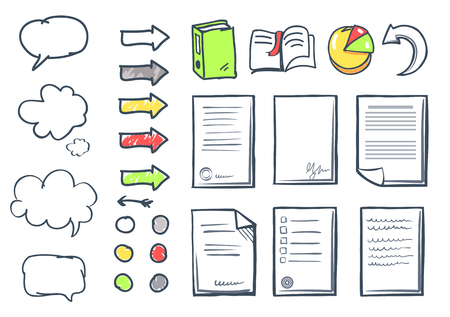 Office Paper and Thought Bubble Icons Set Vector