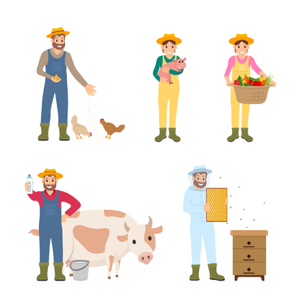 Beekeeper and harvesting season isolated icons set vector. Woman with pig, man with cow, milk in package. Beehive and chicken feeding, farming people