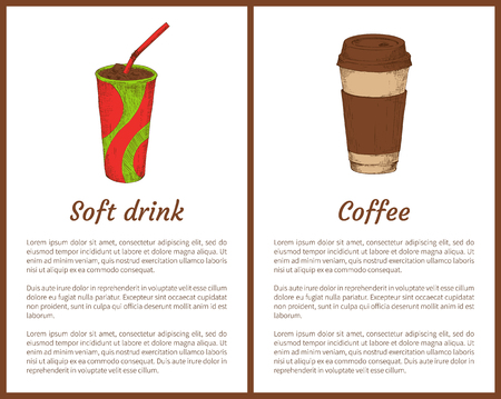 Soft drink and coffee cup. Cold and hot beverages with straw. Morning drinks to feel more energetic during working day posters set vector illustration Illustration
