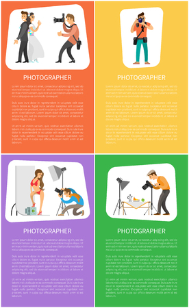 Photographer services promo vertical banners. Wedding photo, photojournalist with camera, model at studio and still life picture vector illustrations. 向量圖像