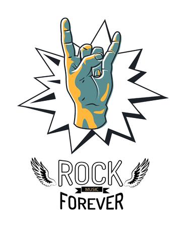 Rock Music Forever Emblem Vector Illustration