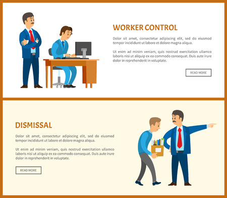 Worker control and dismissal, bad boss leader of company and worker vector posters. Employee and director checking process and controlling every step