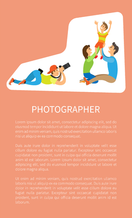 Family photo session, kid and parents vector poster with text sample. Photographer holding camera making picture of mother with father raising child vector Stock Illustratie