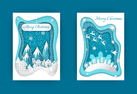 Merry Christmas Paper Cut Winter Holidays Set 스톡 콘텐츠 - 113770670