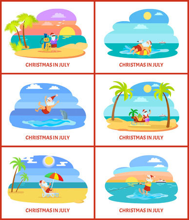 Christmas in July, Santa Claus with snowman made of sand vector. Tropical atmosphere, beach and sea, seagull and ship, swimming dolphin and palm tree Illustration