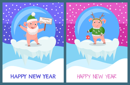Happy New Year Piglets Celebration Glass Toys Stock Vector - 113770671