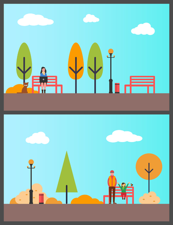 Woman sitting on bench, freelance worker in park vector. Pine tree and lanterns, trash bin at street. Father and daughter with bird, sunny fall day Иллюстрация