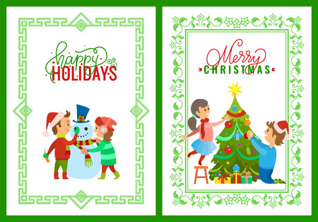 Merry Christmas holidays children playing outdoors building snowman vector. Evergreen pine tree decorating by father and daughter. Family days at home Stock Vector - 127019778