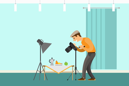 Photographer Making Shot of Still Life Composition