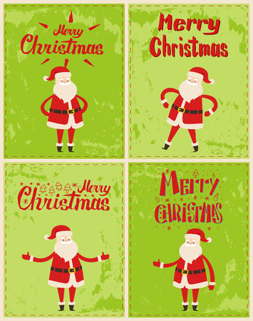 New Year greeting cards design with Saint Nicholas in different poses isolated on grunge green. Santa claus and red lettering greetings inscriptions, vector