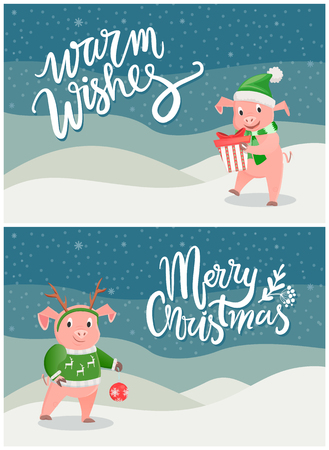 Warm Wishes and Merry Christmas Greeting Cards Pig