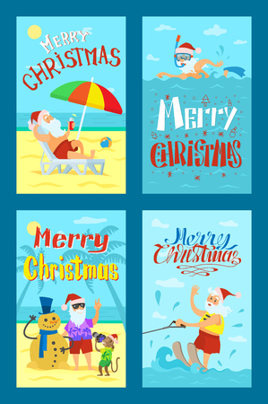 Merry Christmas, Santa Claus making photo with snowman, diving in scuba mask, riding on water skis, lying on sunbed. Saint Nicholas on summer holidays, vector Standard-Bild - 127019782