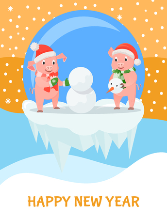 Pigs Building Snowman, New Year and Christmas