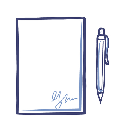Empty Sheet of Paper with Signature, Fountain Pen Ilustração
