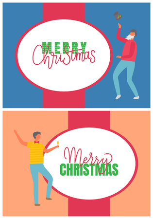 Men holiday party with glass of champagne and in Santa beard with hat. Celebrating boys in jersey and t-shirt and trousers. Greeting Merry Christmas vector