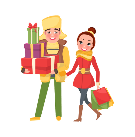Happy young family getting ready to Xmas eve. Man and woman with bags isolated vector. Merry Christmas, couple returns from shopping with packages