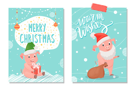 Santa's warm wishes and merry Christmas greeting postcard. Pig with white beard and red hat with brown bag. Sitting piggy in green cap with gift box vector