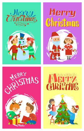 Merry Christmas holidays children building snowman, Santa Claus and Snow Maiden. Children open boxes with gifts, decorating Xmas tree, vector winter cards Ilustração