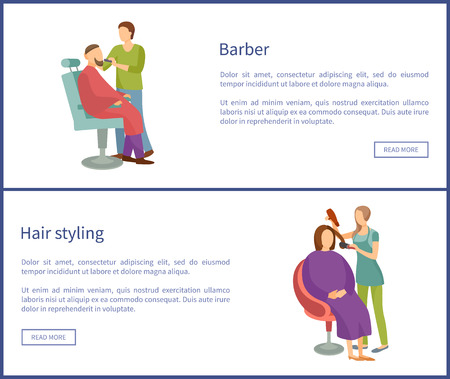Barber shop and hair styling web posters hairdresser cutting or shaving beard and mustaches to man in armchair. Hairstyle salons with haircut services Ilustração