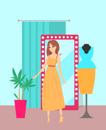 Female shopaholic wearing dress in store vector. Shop with mirror and changing room, plant interior decoration. Mannequin with blouse and skirt suit Illustration