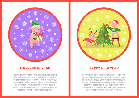 Happy New Year pig pattern colored greeting. Images with holiday presents and snowflakes. Piglets decorating Christmas tree, hanging balls and star Illustration