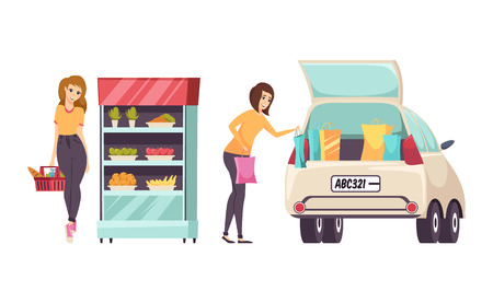 Shopping females by beauty stand isolated set vector. Woman putting stuff bags into big car to transport to home. Cosmetics and makeup production