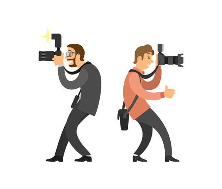 Freelancer taking photo from straight angle, journalist in glasses wearing suit vector illustrations. Photographer and paparazzi, modern cameras with flash