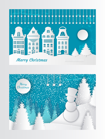 Merry Christmas paper cut invitation with house buildings, moon ant trees. Snowman in forest, origami spruces, cut out greeting card, vector landscape Illustration