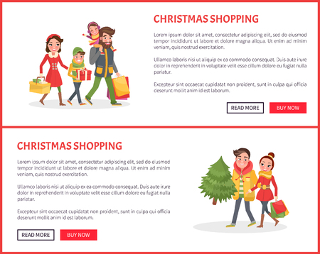 Christmas Shopping Poster, Couple and Children